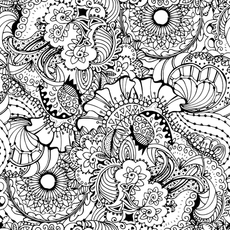 trendy tissue: Coloring book page design with pattern. Mandala ethnic ornament. Isolated vector illustration in doodle style. Illustration