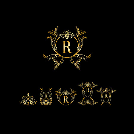 Stylish and elegant monogram design template with letter R. Vector illustration.Golden and luxury