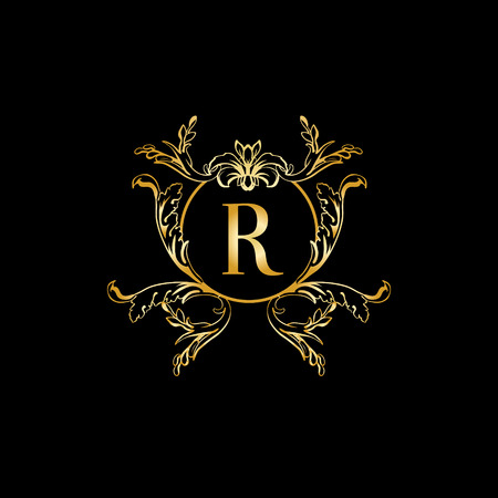 Stylish and elegant monogram design template with letter R  Vector  illustration Golden and luxury. Stylish And Elegant Monogram Design Template With Letter R  Vector