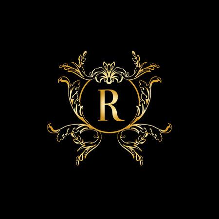 modèle de conception de monogramme élégant et élégant avec la lettre R. Vector illustration.Golden et de luxe