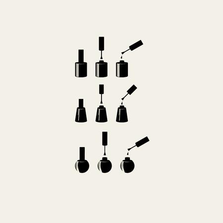 varnish: Nail polish icon set. Isolated vector silhouette.