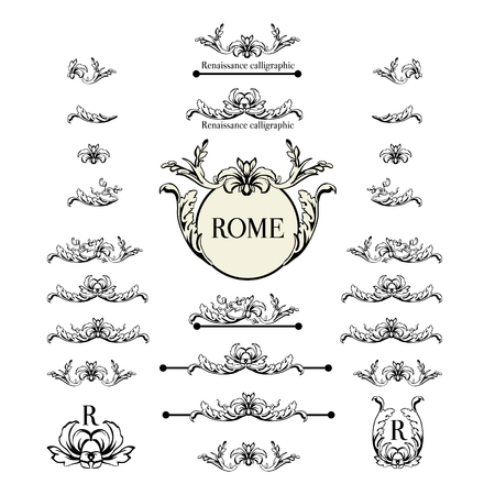 underscore: Vector set of calligraphic design elements, page decor, dividers and ornate headpieces. Rome style calligraphy.
