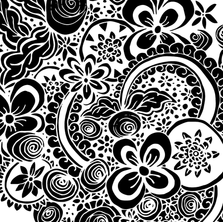 Black Bandana Print with flowers ornament and doodle style elements. Design for your silk neck scarf.Kerchief square pattern design for print on fabric, vector illustration.