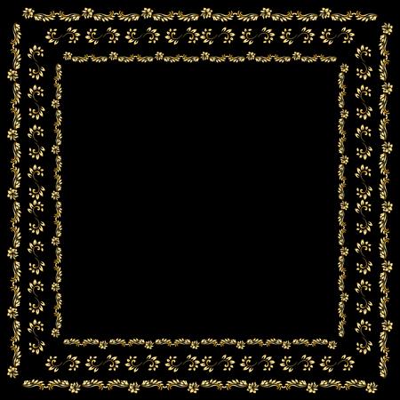 silk scarf: Gold bandana silk scarf. Black background and vintage ornament Illustration