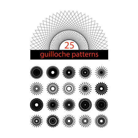 spirograph: Guilloche symbols set. Spirograph isolated collection. Vector isolated illustration.