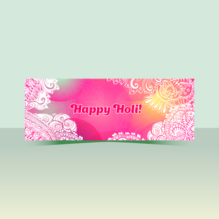 happy holi: Happy Holi horizontal flyer design template, vector background concept design with colorful Holi doodle style paint. Pink and white colors. Happy Holi greeting text.
