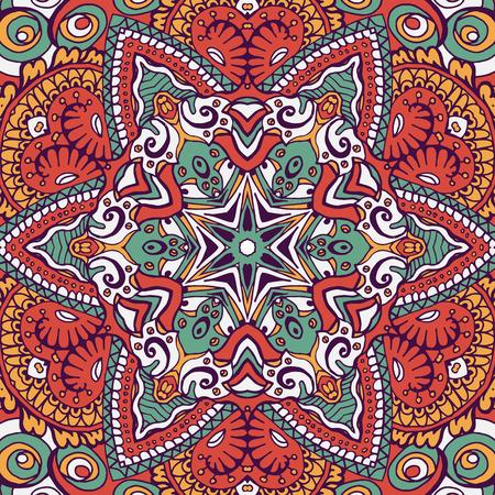 Bohemian style seamless tile. Hand drawn backdrop. Boho style.