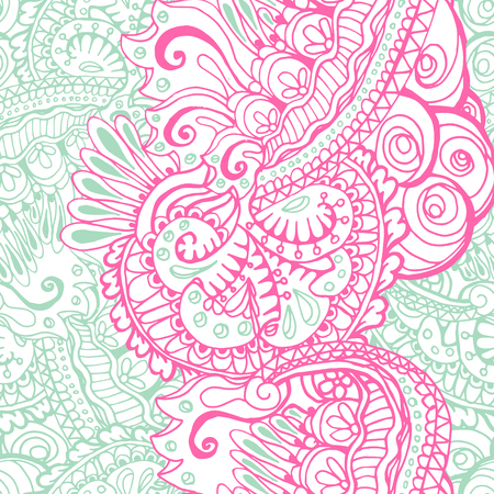 peace movement: Rose Quartz and Serenity trendy colors of the year 2016 in the seamless pattern. doodle or doodle style ornament with mandalas and floral elements. For fabric textile or print design