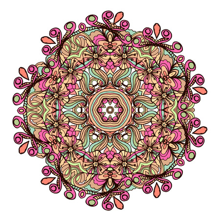 used ornament: Ethnic tribal round ornament. Colorful mandala for meditation. Can be used for Yoga design.Isolated vector illustration.