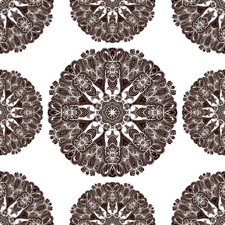 neckwear: Mandala ethnic ornament. Isolated vector illustration in doodle style. Headwear or neckwear design.Seamless pattern.