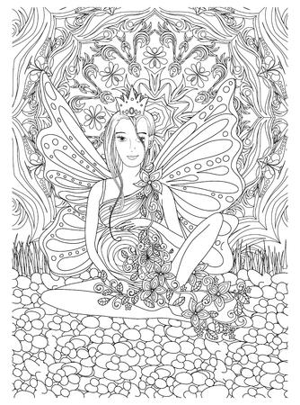 Adulto libro de colorear con lady.Pregnancy embarazada en art.Black estilo de dibujo y blanco Ilustración de vector