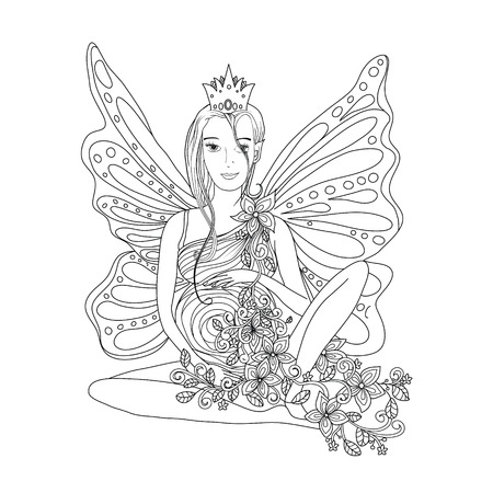 pixy: Adult coloring book page with Pregnant lady and wings. Doodle style art. Black and white
