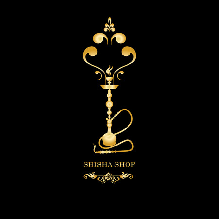 Golden Shisha, hookah black silhouette. Vector gold illustration on black