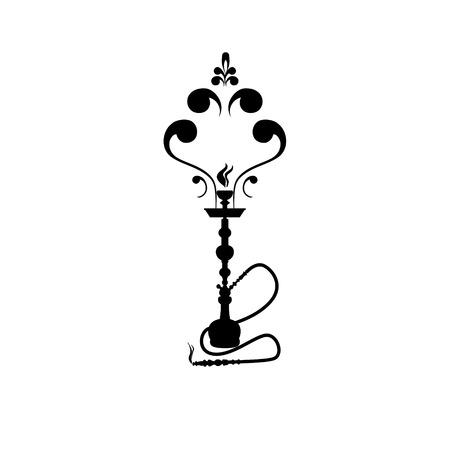 Shisha, waterpijp zwarte silhouet. Vector waterpijp illustratie geïsoleerd op wit.