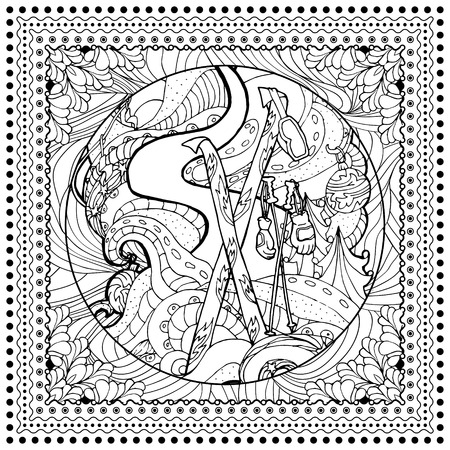 mono print: Black vector mono color illustration for Ski, Winter Sport print design.  Coloring book page design for adults or kids. Vector template.Ornamental border and frame