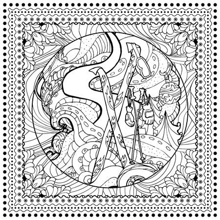 Negro Ilustración De Color Mono Vector Para El Diseño De Impresión ...
