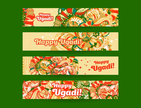 kalash: Happy Ugadi,Gudi Padwa Hindu banner templates set with hand drawn  style ornament and typography inscription on a orange background.Vector illustration.