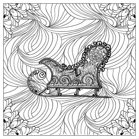Black vector mono color illustration.Adult Coloring book page design, for adults or kids. Vector template.Ornamental border and frame Illustration