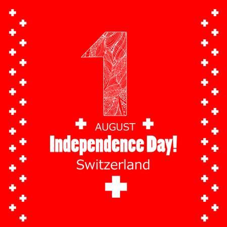 Independence Day, 1 august. Switzerland holiday Swiss Day. Red background and white text.