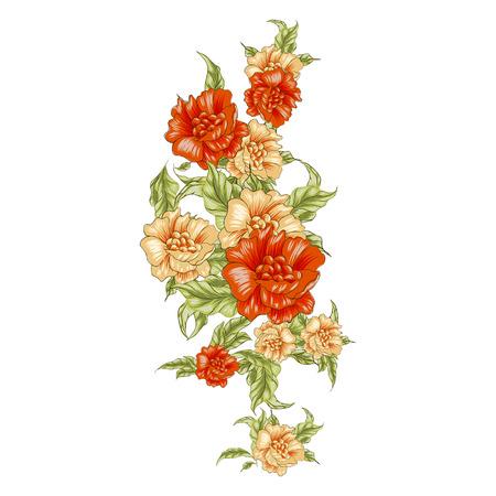 Vintage yellow roses blossom, vertical bouket. Vector illustration
