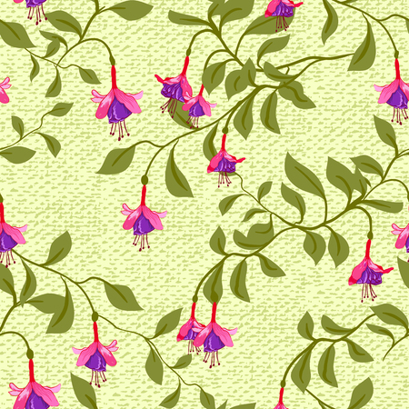 fuschia: Vintage wallpaper seamless pattern with fuschia flower. Can be used for fabric design. Vector illustration