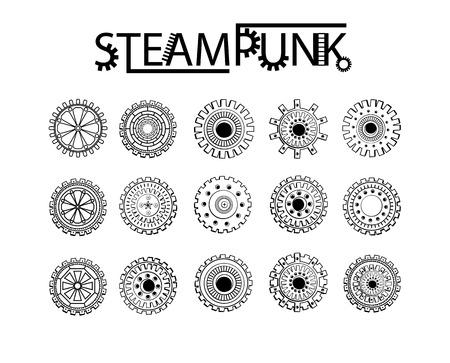 Steampunk Gang-Rad runden Elementen. Schwarze Farbe Set Standard-Bild - 60032869