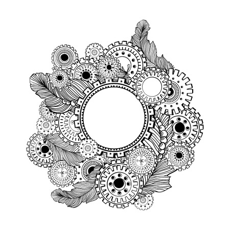 rivets: Hand drawn circle frame for photo with steampunk technology elements. Doodle style design Illustration