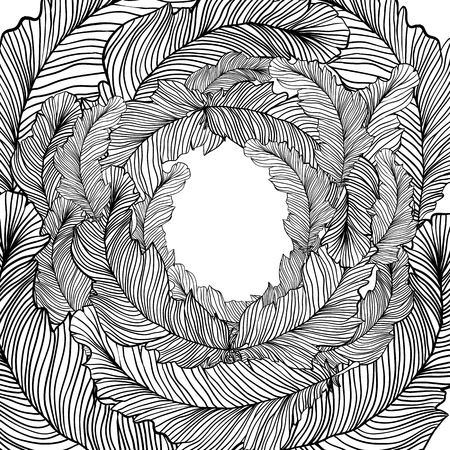 hand drawn frame: Hand drawn frame with feathers. Doodle style design