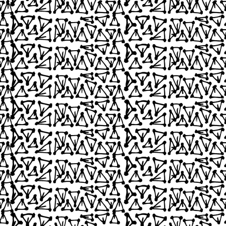 mono color: Hand drawn seamless pattern, vector texture for handmade design. Black mono color triangles art.
