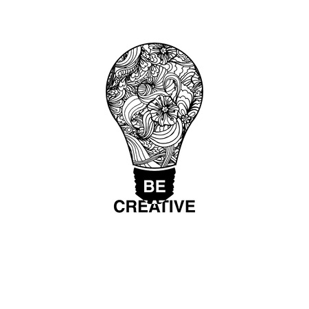 Be Creative poster. Creative art concept with lightbulb and ornament. Creative Concept for fabric print design.Vector illustration. Illustration