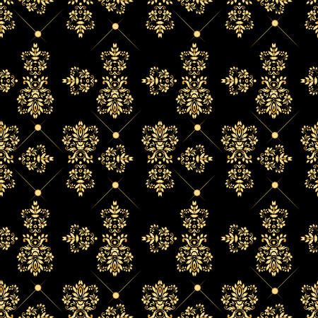 Seamless pattern with luxury damask ornament on the black background.Vector illustration