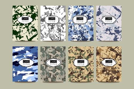 camoflage: Set of Vintage Creative Cards with Camo, Camouflage Patterns. Retro Presentation for Placards, Posters, Flyers and Banner Designs. Pages include seamless pattern under mask.