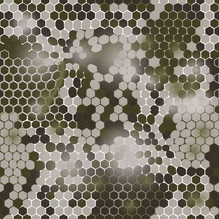 Hexagonal camouflage.Vector digital hexagonal camo seamless pattern Illustration