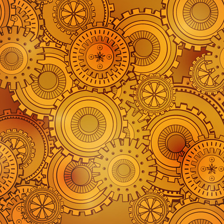 Golden iron gearwheels technology backdrop. Vintage wallpaper with mechanism. Steampunk style 向量圖像