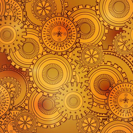 Golden iron gearwheels technology backdrop. Vintage wallpaper with mechanism. Steampunk style Illustration