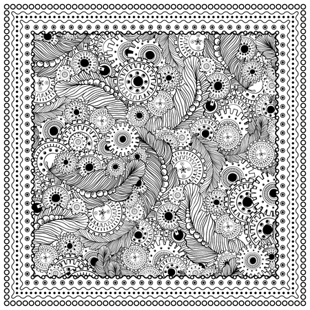 rag wheel: Black vector mono color illustration. Adult Coloring book page design, for adults or kids. Vector template. Ornamental border and frame. Steampunk style, feathers and gear-wheels