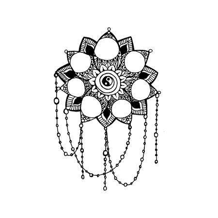 vedic: Doodle style monochrome black line art lotus with circles for your design. Vector tempate for logo design or adult coloring pages