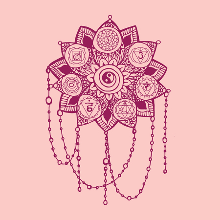 Doodle style pink line art lotus with yoga chakras pictogram and hieroglyph. Vector illustration for print design