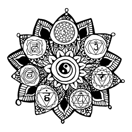 Doodle style monochrome black line art lotus with yoga chakras pictogram and hieroglyph. Vector illustration for print design, adult coloring page template