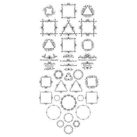 Vintage syle calligraphic set of borders, underscores, scrolling elements, ornate headpiece, page decor, dividers, book design and christmas style decorative frames with ornaments. Square, circle, triangle shapes.