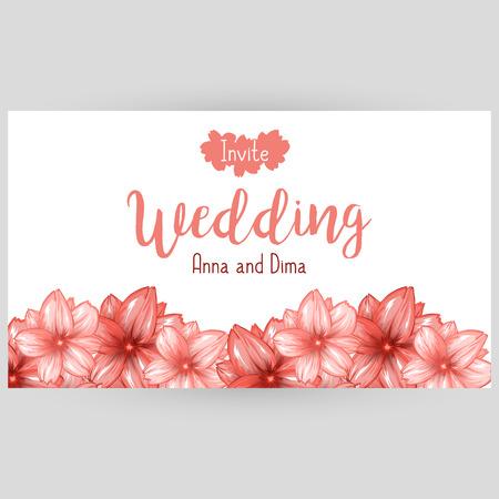 website header: Wedding horizontal banner or website header design with pink japanese cherry blossom. Vector illustration Illustration