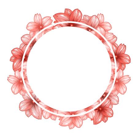 ロマンチックな円フォト フレーム ピンクの桜の花です。あなたのイメージのための場所の丸い境界線。ベクトル図