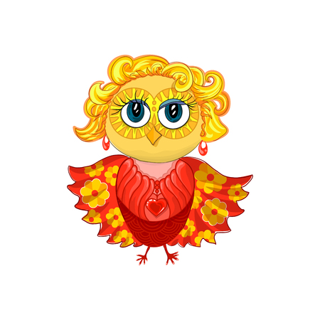 spread wings: Cute feminine owl with blond hair, earrings, pendant or medallion with red heart and beautiful make up eyes. Spread wings with yellow flower pattern. Isolated vector element for cartoon design.