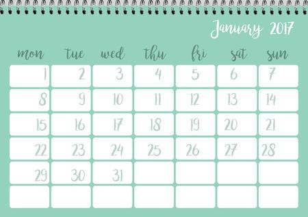 desk calendar: Desk calendar horizontal template 2017 for month January. Week starts Monday