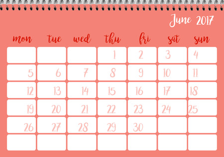 desk calendar: Desk calendar horizontal template 2017 for month June. Week starts Monday
