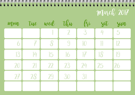 desk calendar: Desk calendar horizontal template 2017 for month March. Week starts Monday