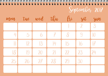 desk calendar: Desk calendar horizontal template 2017 for month September. Week starts Monday