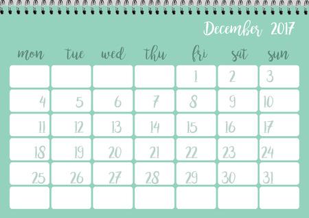 desk calendar: Desk calendar horizontal template 2017 for month December. Week starts Monday