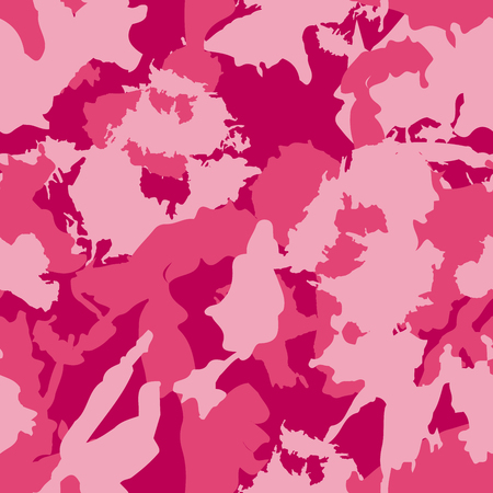 Vector military camouflage pattern. Pink hand drawn spots. Can be used for fashion feminine fabric textile design
