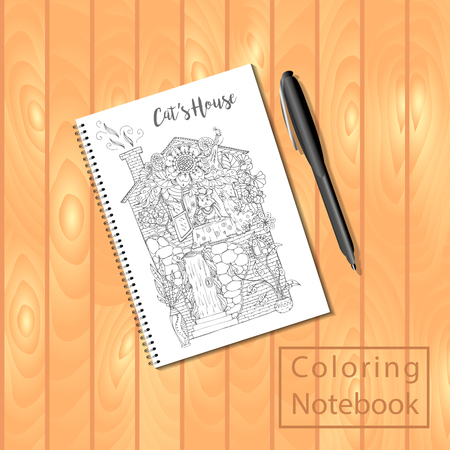 bound: Spiral bound notepad or coloring book with coloring page picture, house with cat. Vector template or mock up. Easy to place your image on the cover.Top view.